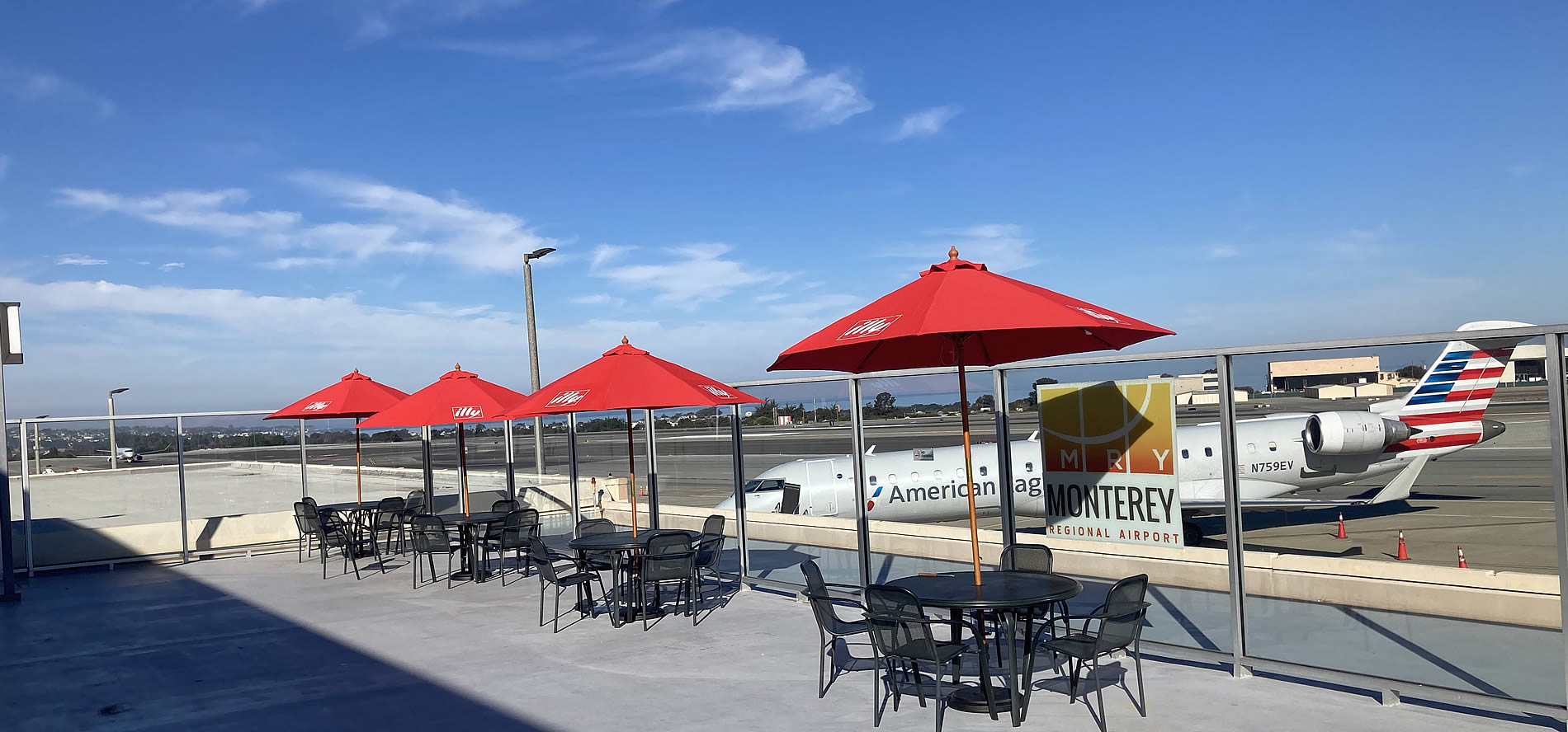 outdoor seating @ woody's monterey airport restaurant and bar, chef tim wood